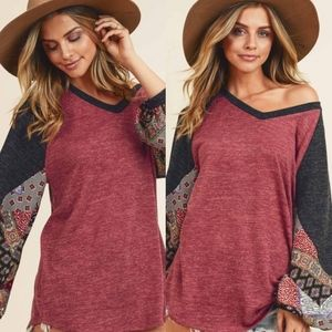 Fall Knit Printed Contrast Top Balloon Sleeve